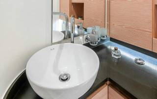 bathroom close up of sink and mirror hanse 588 sailing boat la spezia italy
