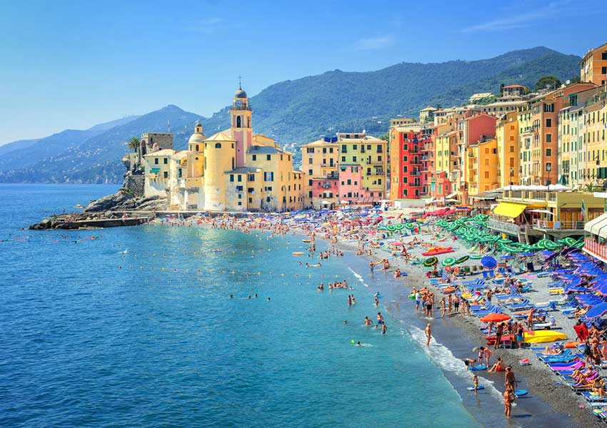 camogli sandy beach genoa italian riviera route sailing holidays mediterranean sea riviera of the flowers