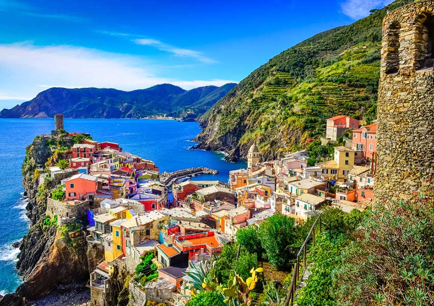 vernazza village cinque terre riviera of the flowers sailing route ligurian riviera italy